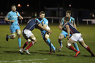 Chris Walker makes a tackle during the Green King IPA Championship match between London Scottish &amp; Worcester at Richmond, Greater London on 20th December 2014<br /> <br /> Photo: Ken Sparks | UK Sports Pics Ltd<br /> London Scottish v Worcester, Green King IPA Championship, 20th December 2014<br /> <br /> &copy; UK Sports Pics Ltd. FA Accredited. Football League Licence No:  FL14/15/P5700.Football Conference Licence No: PCONF 051/14 Tel +44(0)7968 045353. email ken@uksportspics.co.uk, 7 Leslie Park Road, East Croydon, Surrey CR0 6TN. Credit UK Sports Pics Ltd