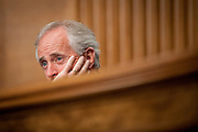 Senator Bob Corker (R-TN) listens to testimony during a Senate Banking, Housing and Urban Affairs Committee on Tuesday on Captiol Hill. The committee held the hearing about implementing derivatives reform and reducing systemic risk and improving market oversight.