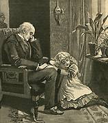 Old man and grandchilddozing in front of a window. Engraving, 1884