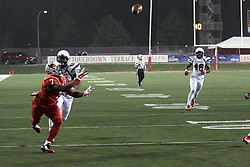 11 December 2015:  George Moreira(7) out runs Kieran Gregory and stretches to try and catch a pass. NCAA FCS Quarter Final Football Playoff game between Richmond Spiders and Illinois State Redbirds at Hancock Stadium in Normal IL (Photo by Alan Look)