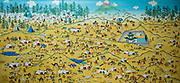 Primitive style painting One Day in Mongolia by Mongolian artist B. Sharav.