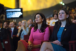 © Licensed to London News Pictures . 15/03/2015 . Liverpool , UK . MIRIAM GONZALEZ DURANTEZ and Jo Swinson listen to Nick Clegg's speech . The Liberal Democrat Party Conference at the Arena and Conference Centre in Liverpool . Photo credit : Joel Goodman/LNP