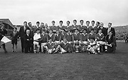 GAA All Ireland Minor Football Final Cork v. Loais 24th September 1967 Croke Park.<br /><br />The Cork Minor team pose for the camera after winning the match *** Local Caption *** It is important to note that under the COPYRIGHT AND RELATED RIGHTS ACT 2000 the copyright of these photographs are the property of the photographer and they cannot be copied, scanned, reproduced or electronically stored in any form whatsoever without the written permission of the photographer