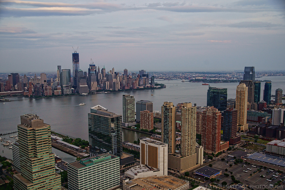 Skylines of Jersey City & Lower Manhattan with Hudson River