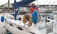 Mike aboard Sparhawk at Friday Harbor, San Juan Islands, Washington, USA