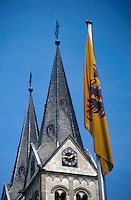 Church of St. Severus and German flag, Boppard, Germany