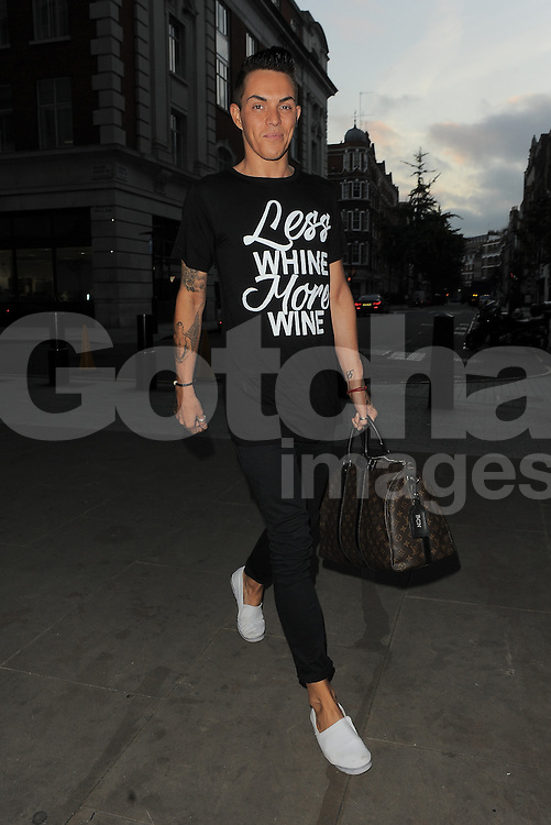 TOWIE star Bobby Norris arriving at BBC Radio 1 in central London, UK. 03/10/2014<br />