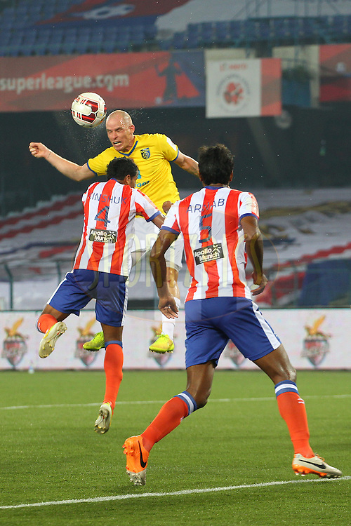 Iain Hume of Kerala Blasters FC claims the cross during match 13 of the Hero Indian Super League between Atl&eacute;tico de Kolkata and Kerala Blasters FC held at the Salt Lake Stadium in Kolkata, West Bengal, India on the 26th October 2014.<br /> <br /> Photo by:  Ron Gaunt/ ISL/ SPORTZPICS