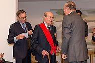 "Movie director Manoel de Oliveira receives de distinction of ""Grand Officier de la Légion d'Honneur"" by the French Ambassador in Portugal, Jean-François Blarel (right)"
