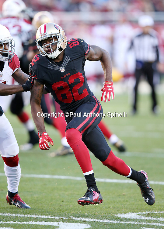 San Francisco 49ers wide receiver Torrey Smith (82) goes out for a pass during the 2015 week 12 regular season NFL football game against the Arizona Cardinals on Sunday, Nov. 29, 2015 in Santa Clara, Calif. The Cardinals won the game 19-13. (©Paul Anthony Spinelli)