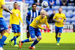 Will Hughes of Derby County wins a header - Photo mandatory by-line: Matt McNulty/JMP - Mobile: 07966 386802 - 06/04/2015 - SPORT - Football - Wigan - DW Stadium - Wigan Athletic v Derby County - SkyBet Championship
