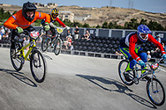 #185 and #205 during practice at the 2018 UCI BMX World Championships in Baku, Azerbaijan.