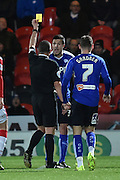 Richard Wood of Chesterfield FC recieves yellow card during the Sky Bet League 1 match between Doncaster Rovers and Chesterfield at the Keepmoat Stadium, Doncaster, England on 24 November 2015. Photo by Ian Lyall.