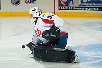KELOWNA, CANADA - OCTOBER 11: Zac Robidoux #35 of Lethbridge Hurricanes makes a save during warm up at the Kelowna Rockets on October 11, 2014 at Prospera Place in Kelowna, British Columbia, Canada.   (Photo by Marissa Baecker/Shoot the Breeze)  *** Local Caption *** Zac Robidoux;