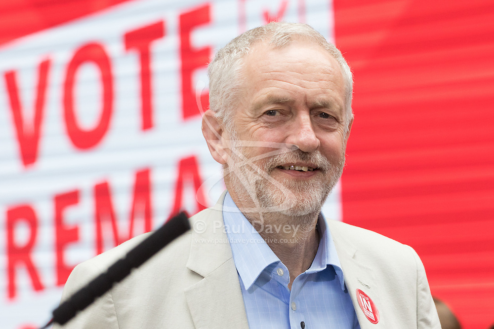 Kings Cross, London, June 22nd 2016. A final rally by members of the Labour Party's Vote Remain team is held in King's Cross, bringing London mayor Sadiq Khan, Welsh first minister Carwyn Jones, Labour In For Britain head Alan Johnson and Scottish leader Kezia Dugdale and Party Leader Jeremy Corbyn in a show of unity as they express the importance of a Remain vote. PICTURED: Labour Leader Jeremy Corbyn arrives on stage.