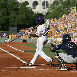09 June 2008:  Jared Mitchell #3 connects with the ball for a single to right field against UC Irvine in the first inning. The LSU Tigers advanced to the College World Series with a 21-7 victory over the UC Irvine Anteaters in game three of the NCAA Baseball Baton Rouge Super Regional Alex Box Stadium in Baton Rouge, LA..