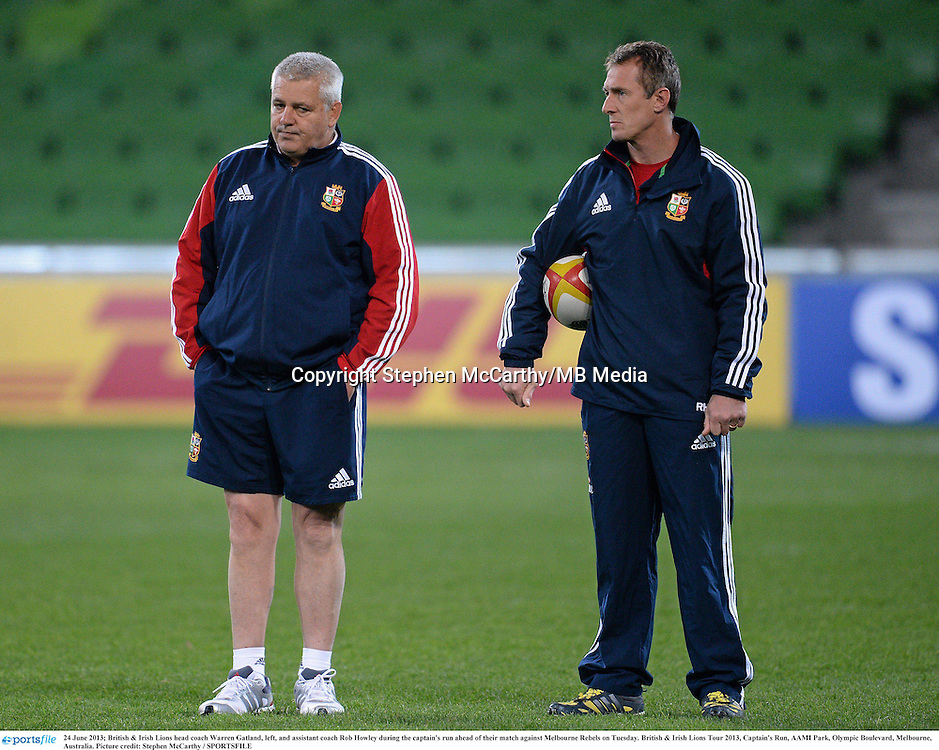 24 June 2013; British & Irish Lions head coach Warren Gatland, left, and assistant coach Rob Howley during the captain's run ahead of their match against Melbourne Rebels on Tuesday. British & Irish Lions Tour 2013, Captain's Run, AAMI Park, Olympic Boulevard, Melbourne, Australia. Picture credit: Stephen McCarthy / SPORTSFILE