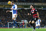 Jordan Rhodes and Clint Hill battl during the Sky Bet Championship match between Blackburn Rovers and Queens Park Rangers at Ewood Park, Blackburn, England on 12 January 2016. Photo by Pete Burns.