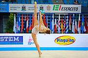 Mateva Mariya during qualifying at ball in Pesaro World Cup at Adriatic Arena on 10 April 2015. Mariya was born on June 1,1994 in Burgas. She is a Bulgarian individual rhythmic gymnast.