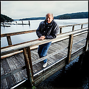 Portraits of filmmaker Warren Miller, at his home on Orcas Island, Washington.  Photographed in 2002 by Brian Smale, for Unlimited Magazine.