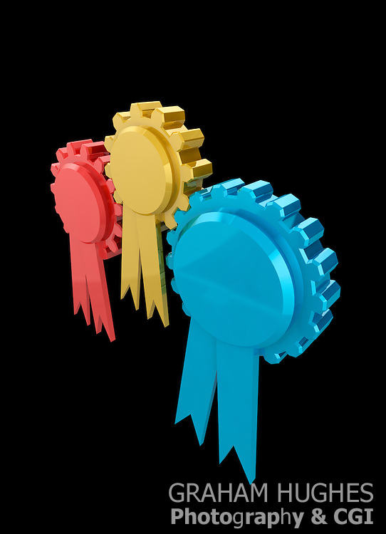 Interlocking cog wheels as party rosettes. Power sharing concept for coalition governments.
