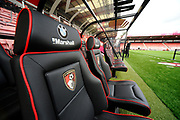 Dugout seats at the Vitality Stadium before the Premier League match between Bournemouth and Leicester City at the Vitality Stadium, Bournemouth, England on 30 September 2017. Photo by Graham Hunt.