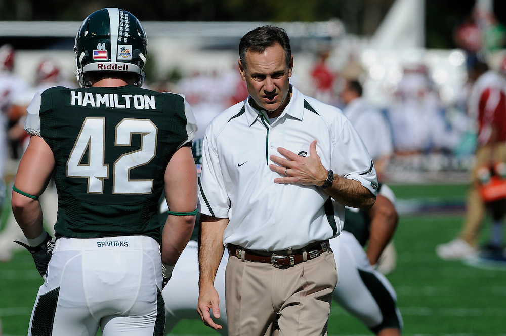January 1, 2011: Head coach Mark Dantonio of the Michigan State Spartans in action during the NCAA football game between MSU and the Alabama Crimson Tide at the 2011 Capital One Bowl in Orlando, Florida. Alabama defeated Michigan State 49-7.