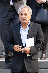 © Licensed to London News Pictures. 12/10/2012. LONDON, UK. Sculptor Anish Kapoor is seen leaving St Paul's Cathedral after a memorial service for hairdresser Vidal Sassoon in London today (12/10/12) . Photo credit: Matt Cetti-Roberts/LNP