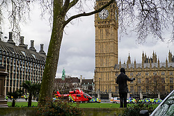 © Licensed to London News Pictures. 22/03/2017. London, UK. Emergency services at the scene of suspected terrorist attack near Houses of Parliament in Westminster, London. Photo credit: Ben Cawthra/LNP
