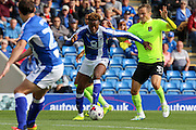 Chesterfield midfielder Gboly Ariyibi (28) on the attack during the EFL Sky Bet League 1 match between Chesterfield and Northampton Town at the Proact stadium, Chesterfield, England on 17 September 2016. Photo by Aaron  Lupton.