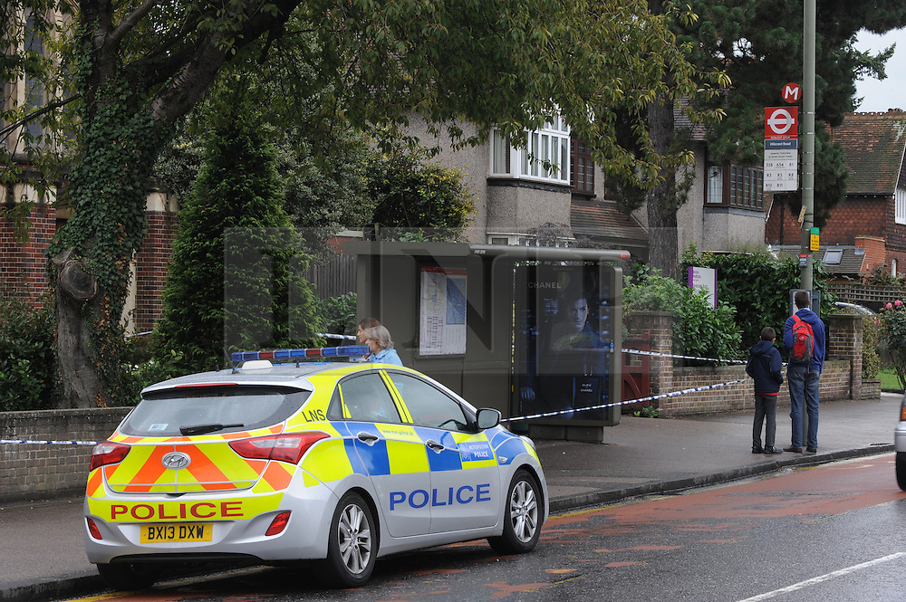 &copy; Licensed to London News Pictures. 13/09/2013<br /> Police are investigating after a 35-year-old woman was sexually assaulted near a church in Orpington this morning (13.09.2013). <br /> It happened near the bus stop by Orpington Methodist Church in Sevenoaks Road,Orpington at around 12.15am. <br /> Officers are at the scene and have cordoned off the area around the bus stop<br /> Photo credit :Grant Falvey/LNP