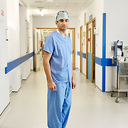 NHS Stoke, One Black Bear, surgeon posing just outside theatre for recruitment advertising campaign