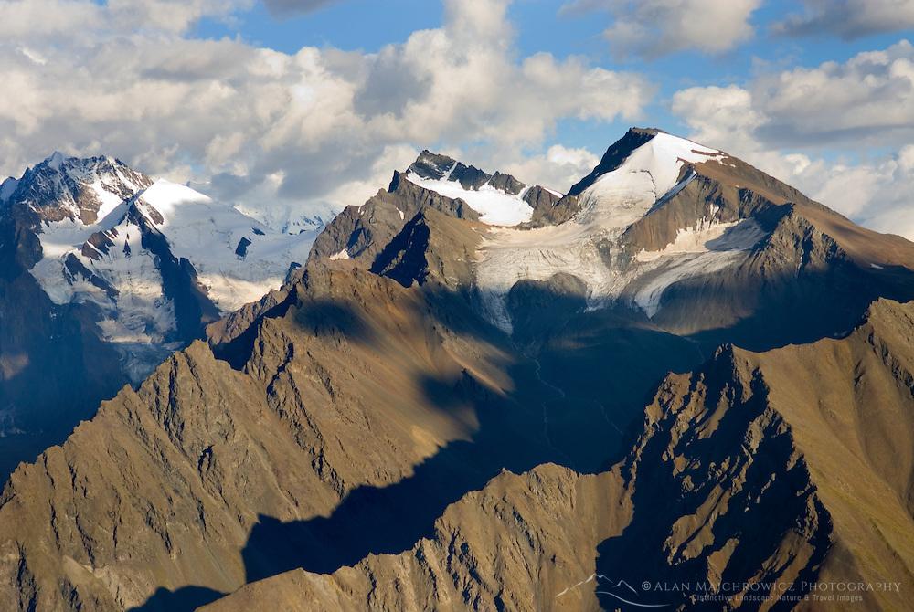 Aerial view of Eastern peaks of the Wrangell Mountains, Wrangell-St. Elias National Park Alaska