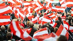 07.09.2010, Red Bull Arena, Salzburg, AUT, UEFA 2012 Qualifier, Austria vs Kazakhstan, im Bild Fans mit österreichischen fahne tauchen das Sation in eine Rot Weiss Rote Fahnenmeer, EXPA Pictures © 2010, PhotoCredit: EXPA/ G. Groder
