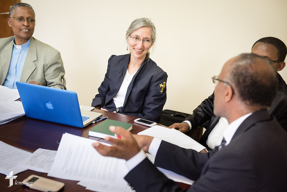 Deaconess Sandra Rhein greets fellow members at a hymnal committee meeting at the Mekane Yesus Seminary in Addis Ababa, Ethiopia, on Tuesday, Nov. 11, 2014. LCMS Communications/Erik M. Lunsford