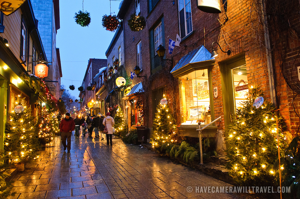 the quaint old shopping street of rue du petit champlain in quebec citys old town