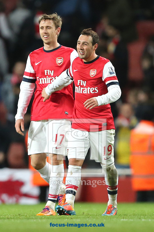 Picture by Richard Calver/Focus Images Ltd +447792 981244<br /> 18/01/2014<br /> Santi Cazorla of Arsenal celebrates upon the final whistle after his two goals beat Fulham 2-0 in the Barclays Premier League match at the Emirates Stadium, London.