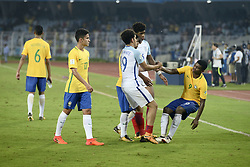 October 25, 2017 - Kolkata, West Bengal, India - England and Brazil player greets each other after the Semi Final match against Brazil in Kolkata. Players of England and Brazil in action during the FIFA U 17 World Cup India 2017 Semi Final match on October 25, 2017 in Kolkata. (Credit Image: © Saikat Paul/Pacific Press via ZUMA Wire)