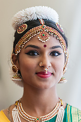 © Licensed to London News Pictures. 05/09/2015. Watford, UK. Portrait of local schoolgirl, Haripriya, aged 16, who performed a classical dance on stage during the biggest Janmashtami festival outside of India at the Bhaktivedanta Manor Hare Krishna Temple in Watford, Hertfordshire.  The event celebrates the birth of Lord Krishna and the festival  includes music, dance, food, dramas and more. Photo credit : Stephen Chung/LNP