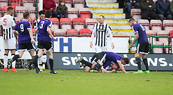 Ayr United&rsquo;s Andy Graham (5) cele scoring their first goal. <br /> half time : Dunfermline 1 v 2 Ayr United, Scottish League One played at East End Park, 13/2/2016.