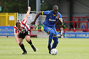 Tom Elliott during the Pre-Season Friendly match between AFC Wimbledon and Cheltenham Town at the Cherry Red Records Stadium, Kingston, England on 1 August 2015. Photo by Stuart Butcher.