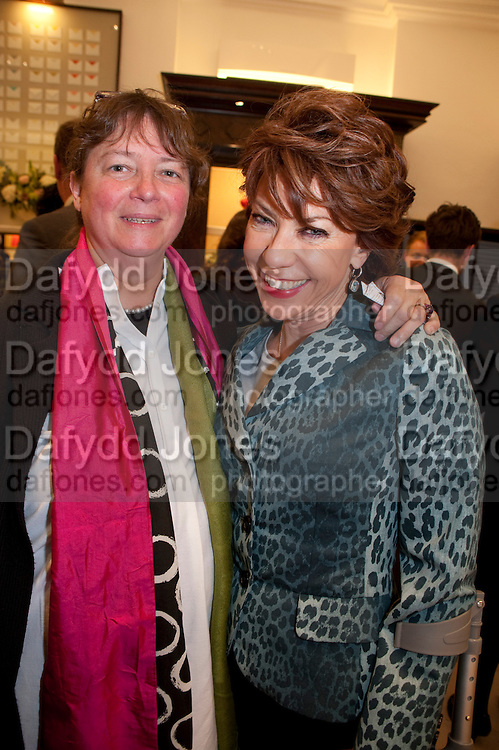 JENNY OAKUN; KATHY LETTE, Smythson Royal Wedding exhibition preview. Smythson together with Janice Blackburn has commisioned 5 artist designers to create their own interpretations of  Royal wedding memorabilia. Smythson. New Bond St. London. 5 April 2011.  -DO NOT ARCHIVE-© Copyright Photograph by Dafydd Jones. 248 Clapham Rd. London SW9 0PZ. Tel 0207 820 0771. www.dafjones.com.