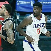 26 December 2017: LA Clippers forward Jamil Wilson (13) is seen next to Sacramento Kings center Willie Cauley-Stein (00) during the LA Clippers 122-95 victory over the Sacramento Kings, at the Staples Center, Los Angeles, California, USA.