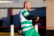 Selby Hands of Hope Patron Gareth Ellis scores a goal to make the score 2-0 during the Annual Selby Hands of Hope Charity match between Selby Hands of Hope FC and Malt Shovel FC at The Fairfax Stadium, Selby Town FC, Selby, United Kingdom on 28 December 2017. Photo by Simon Davies.