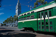 San Francisco Municipal Railway Historic Streetcar 1050 in front of the Ferry Building in San Francisco | July 31, 2012