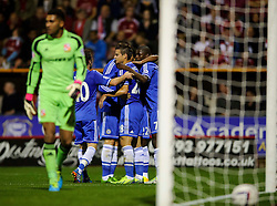 Chelsea celebrate after a goal from Chelsea Midfielder Ramires (BRA) during the first half of the match - Photo mandatory by-line: Rogan Thomson/JMP - Tel: 07966 386802 - 24/09/2013 - SPORT - FOOTBALL - The County Ground - Swindon Town v Chelsea - Capital One Cup Round 3.