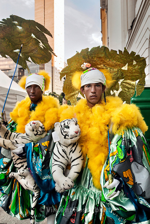 """Great competition for the best """"Bate Bola"""" costume in the center of Rio de Janeiro. Some gangs carry their """"hit-the-ball"""", when others prefered a soft toy or an umbrella as a sign of pacifism. The costume can coast until 600 USD$ to prepare, representing more than 3 times the minimum salary in Brazil.."""