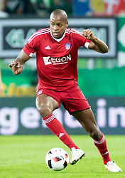 25.08.2016, Allianz Stadion, Wien, AUT, UEFA EL, SK Rapid Wien vs FK AS Trencin, Play off, Rueckspiel, im Bild Rangelo Janga (FK AS Trencin)// during the UEFA Europa League Play off 2nd Leg Match between SK Rapid Wien and FK AS Trencin at the Allianz Stadion, Vienna, Austria on 2016/08/25. EXPA Pictures © 2016, PhotoCredit: EXPA/ Sebastian Pucher