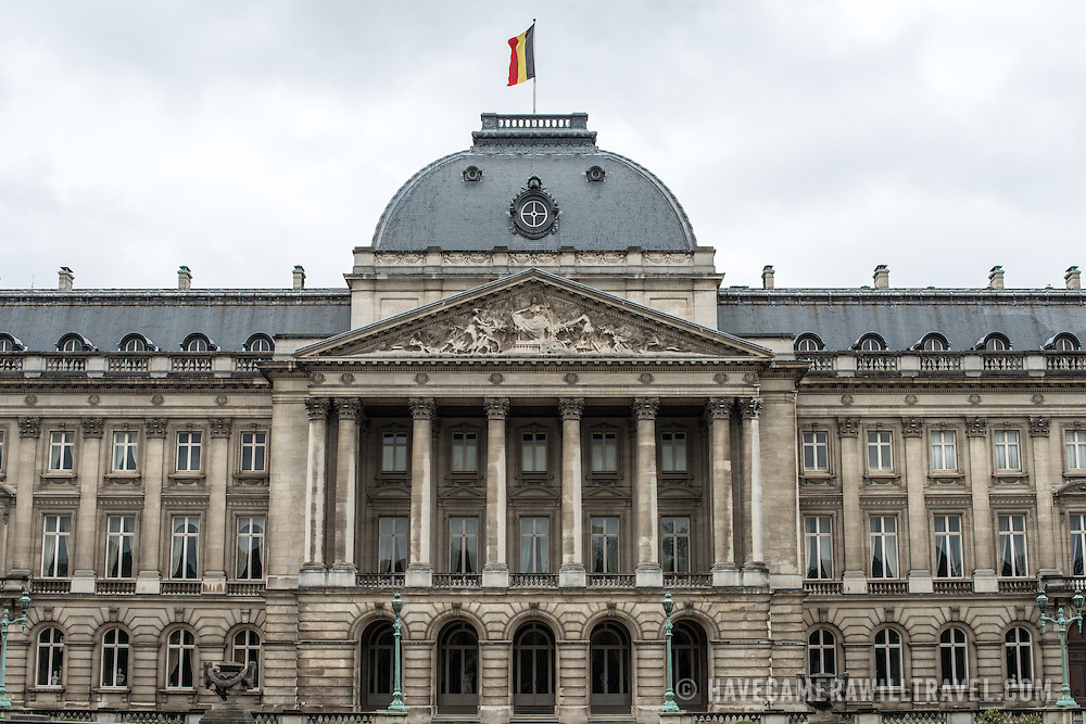 The center of the front of the Royal Palace of Brussels, the official palace of the Belgian royal family.