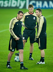 EINDHOVEN, THE NETHERLANDS - Monday, December 8, 2008: Liverpool's captain Steven Gerrard MBE, Jamie Carragher and Robbie Keane training at the Philips Stadium ahead of the final UEFA Champions League Group D mach against PSV Eindhoven. (Photo by David Rawcliffe/Propaganda)